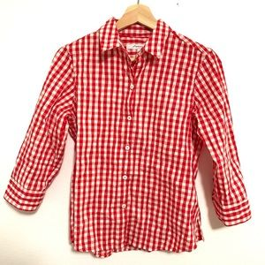 3/4 Sleeve Gingham Fitted Button Down Top